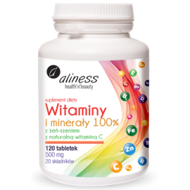 Witaminy i minerały 100% x 120 tabletek Aliness