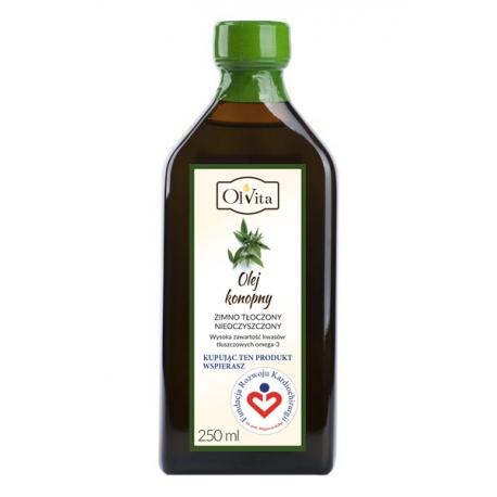 Olej konopny 250 ml tłoczony na zimno nieoczyszczony