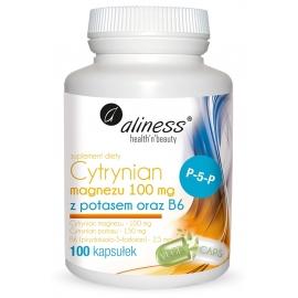 Cytrynian Magnezu 100 mg z potasem 150 mg, B6 (P-5-P) x 100 caps VEGE